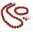 Wholesale red carnelian set (necklace, bracelet and earrings)