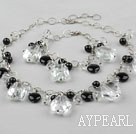 Wholesale Clear Crystal and Black Agate Set ( Necklace Bracelet and Matched Earrings )