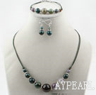 Simple Style Indian Agate Set ( Necklace Bracelet and Matched Earrings )