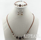 Simple Style Smoky Quartz Set ( Necklace Bracelet and Matched Earrings )