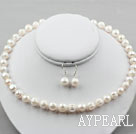 10-11mm White Freshwater Screw Thread Pearl Set ( Necklace and Matched Earrings )