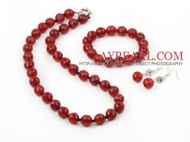 red carnelian set (necklace, bracelet and earrings)
