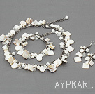 White Series Assorted White Pearl Shell Set with Metal Chain ( Necklace Bracelet and Matched Earrings )