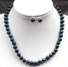 8-9mm Black Blue Color Pearl Necklace and Matched Studs Earrings Sets