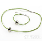 simple style silver like necklace bracelet set with extendable chain