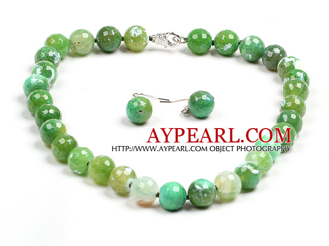 Classic Simple Design Green Fire Agate Beads Jewelry Set (Necklace With Matched Earrings)