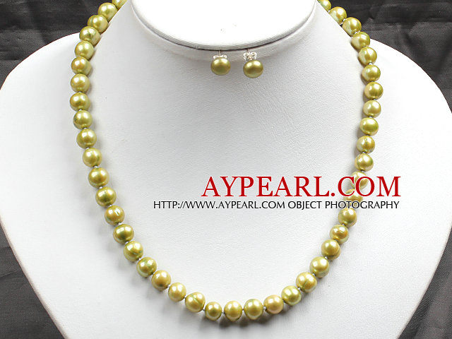 8-9mm Yellow Green Color Pearl Necklace and Matched Studs Earrings Sets