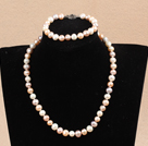 Graceful Hot Sale 8-9mm Natural White Pink Purple Pearl Jewelry Set (Necklace & Bracelet)