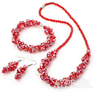 fashion red crystal set(necklace, bracelet, earrings) with magnetic clasp