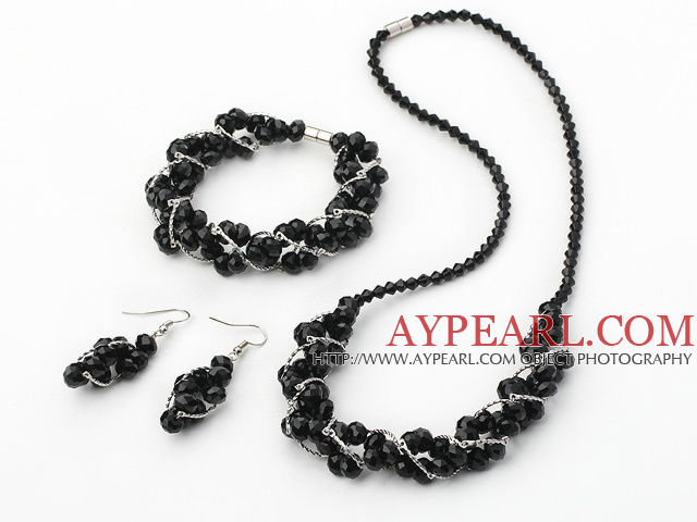 fashion crystal set(necklace, bracelet, earrings) with magnetic clasp
