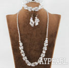 Discount fashion white crystal set(necklace, bracelet, earrings) with magnetic clasp