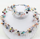 Assorted Multi Color Freshwater Pearl Set ( Necklace and Matched Bracelet )