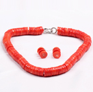 Popular Style de forme de disque Red Coral Jewelry Set (Collier avec assortie d'oreilles)