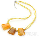 Simple Style Trapezium Shape Yellow Stripe Agate Necklace with Blue Thread