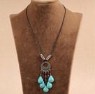 Simple Vintage Style Chandelier Shape Garnet Tear Drop Turquoise Tassel Pendant Necklace With Black Leather