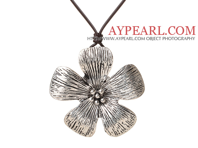 New Arrival Simple Style Tibet Silver Flower Pendant Necklace with Dark Brown Leather
