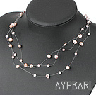 Wholesale Fashion Pink And Purple Fresh Water Pearl String Necklace With Lobster Clasp