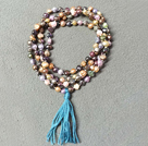 New Arrival Natural Multi Color Potato Pearl Necklace With Blue Tassel (Also can be Bracelet)