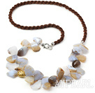 Long Style Irregular Shape Chalcedony Crystallized Agate Necklace with Brown Cord( The stone may not complete)