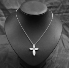 Classic Design White Shell Cross Shape Pendant Necklace with Metal Chain