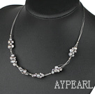 Fashion Grey Fresh Water Pearl Knit-Wired Necklace With Lobster Clasp