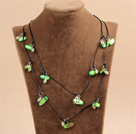 Fashion Long Style Green Series Crystal Shell Necklace With Black Leather (Sweater Chain)