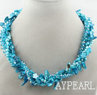 Wholesale Blue Series Multi Strands Blue Freshwater Pearl Crystal and Shell Necklace