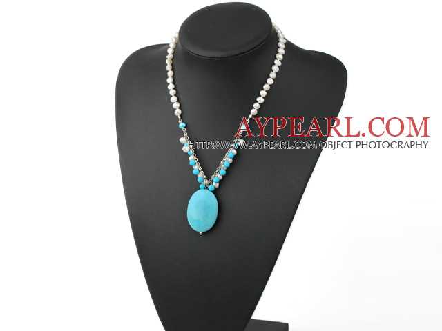 Nice White Freshwater Pearl And Round Oval Shape Turquoise Pendant Necklace