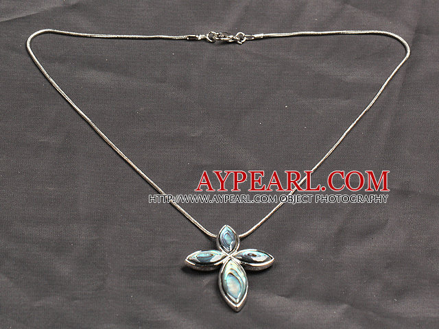 Classic Design Abalone Shell Cross Shape Pendant Necklace with Metal Chain