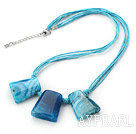 Simple Style Trapezium Shape Blue Stripe Agate Necklace with Blue Thread