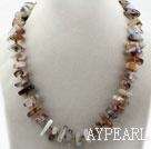 Wholesale Assorted Single Strand Gray Agate Necklace with Big Lobster Clasp