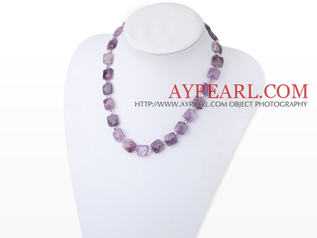 Popular 14Mm Round Faceted Square Amethyst And Gray Crystal Beaded Necklace