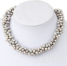 Wholesale Fashion Grey Color Fresh Water Pearl Necklace With Magnetic Clasp