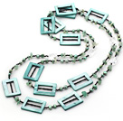 Nice Long Style Green Series Freshwater Pearl And Chips Aventurine Hollow Rectangle Shell Necklace