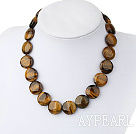 Single Strand Flat Round Tiger Eye Necklace