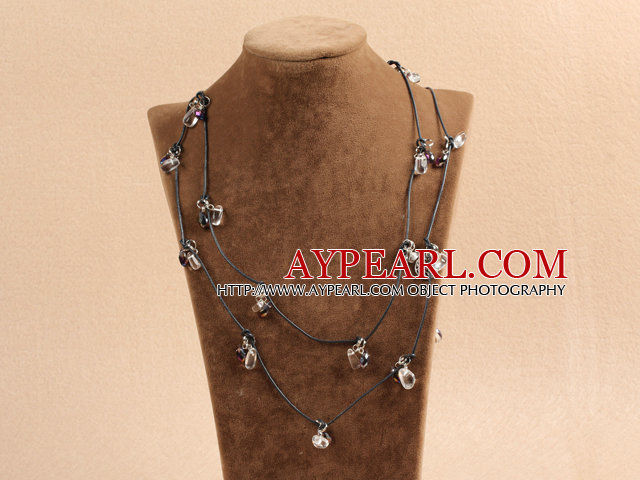 Fashion Style Long Clear & Collier Cristal Noir en cuir noir (Chain Pull)