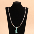 Fashion Simple Style 6-7mm Potato Shape Natural Gray Pearl Necklace with Blue Tassel
