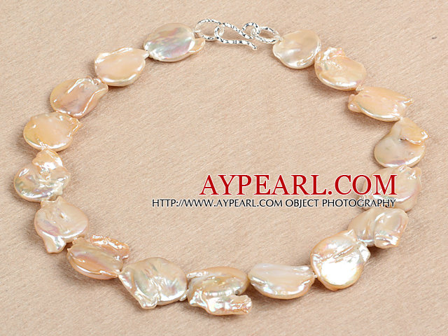 Elegant Natural Pink Irregular Shape Rebirth Pearl Chunky Party Necklace