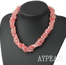 Fashion Long Style Multi Function Chipped Cherry Quartz Necklace, Sweater Necklace