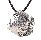 Summer Lovely Simple Style Tibet Silver Tropical Fish Shape Pendant Necklace with Black Leather