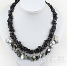 Wholesale blue sandstone and shell necklace