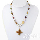 Nice White Freshwater Pearl And Three Color Jade Flower Pendant Necklace With Double Ring Closure