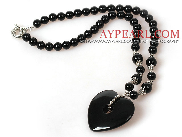 Black Agate Necklace with Heart Shape Agate Pendant