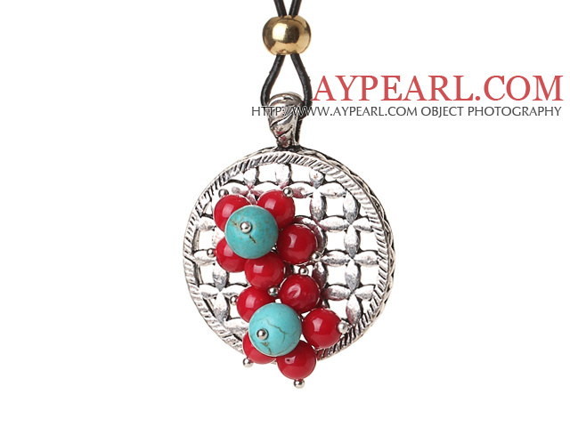 Newly Fashion Style Red Coral and Turquoise Flower Pendant Necklace with Black Leather