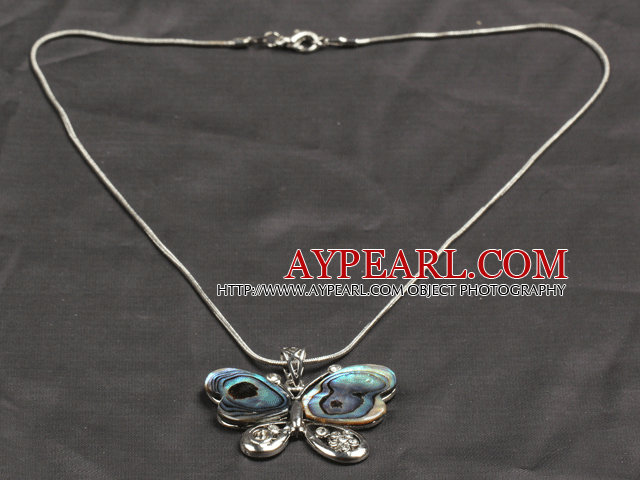 Classic Design Abalone Shell Butterfly Shape Pendant Necklace with Metal Chain