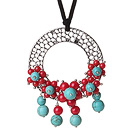 Wholesale Newly Fashion Drop Long Style Red Coral and Turquoise Flower Pendant Necklace with Soft Leather