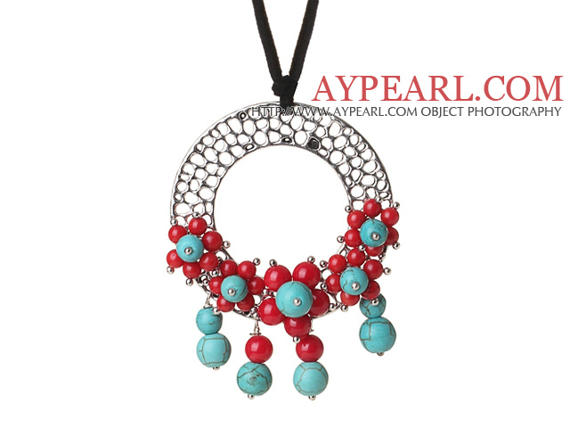 Newly Fashion Drop Long Style Red Coral and Turquoise Flower Pendant Necklace with Soft Leather