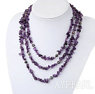 Fashion 3-Strand Freshwater Pearl Chipped Amethyst Metal Bead Necklace