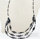Wholesale Three Layer Black Crystal and Black Shell Necklace