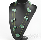 Nice Long Style Mixed Shape Aventurine Green Threaded Necklace, Sweater Necklace